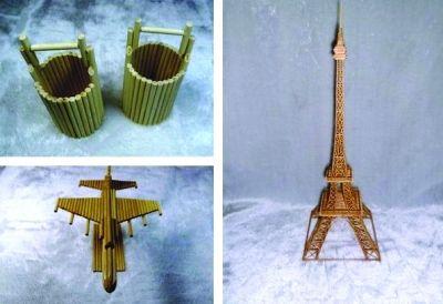 大学生创业废旧筷子做工艺品