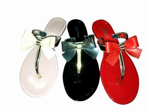 电镀水晶塑料蝴蝶闪亮果冻拖鞋