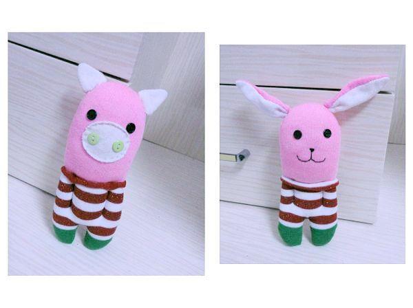 袜子娃娃-圣诞兔和圣诞猪