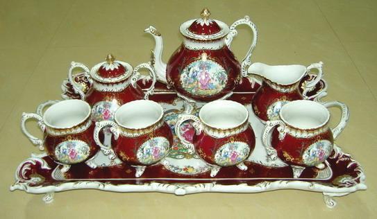 欧式红釉陶瓷套装茶具图片