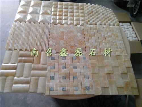 河南大理石玉石马赛克蘑菇石文化石内墙砖影视墙板材生产加工图片,