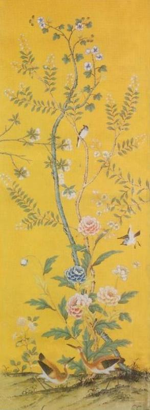 手绘丝绸壁纸