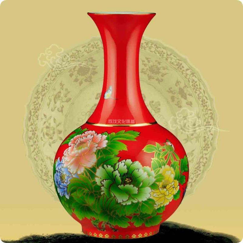 中国红瓷花瓶