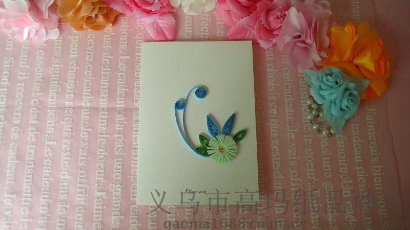 衍纸产品diy纯手工立体贺卡 蓝色花朵