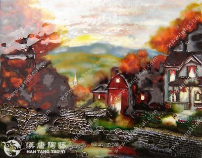 纯手绘油画风格出口陶瓷板画