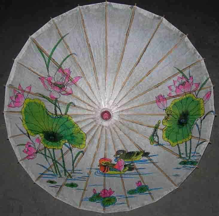 手绘纸伞山水图