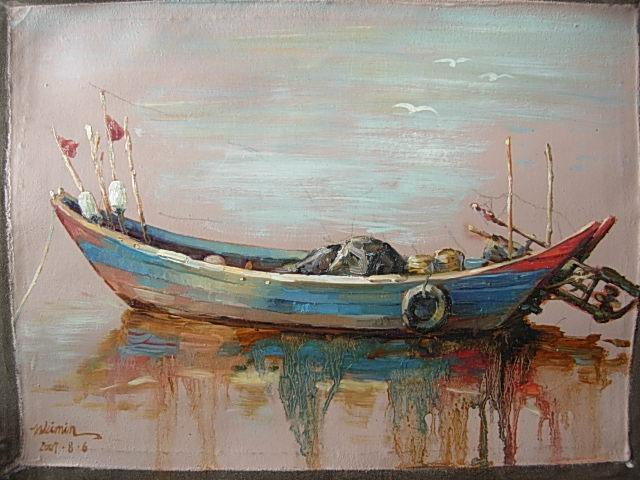 手绘油画 (船)