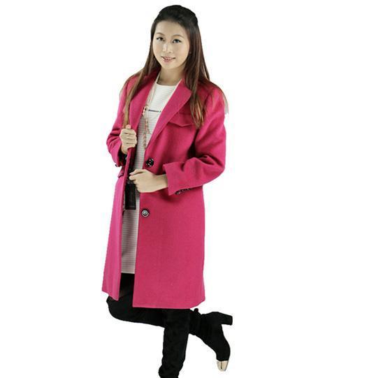 玫红色大衣毛呢外套修身