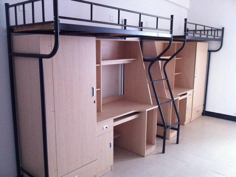 铁床学生床;; 大学生组合床/上床下书柜/学生公寓实木床/校用上下铺图片