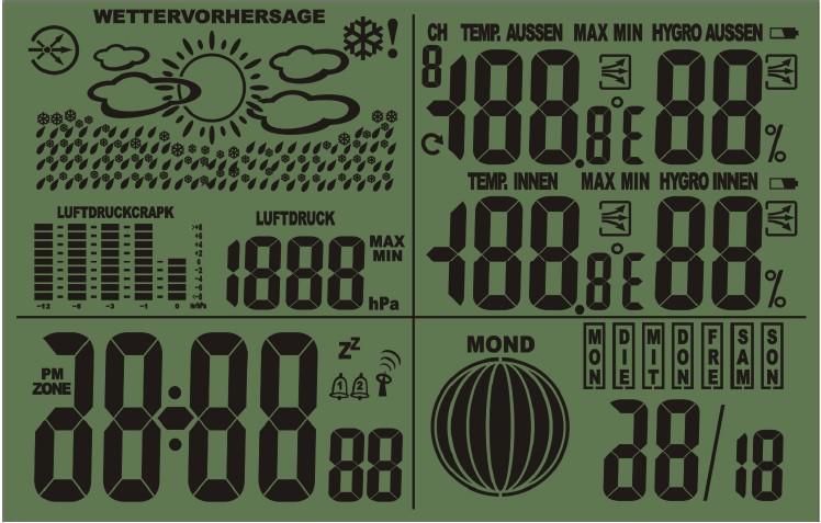 数字气压天气预报lcd电波钟图片