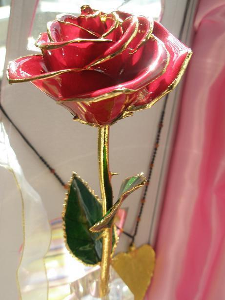 结丝带30cm*10cm          检测证书一张          镀金玫瑰花一枝图片