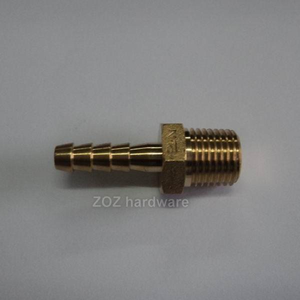 """1/4""""黄铜外丝宝塔接头    材质59-1黄铜    红冲体,数控加工"""