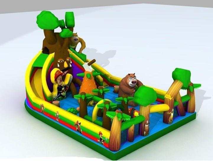 熊出没儿童充气大滑梯玩具