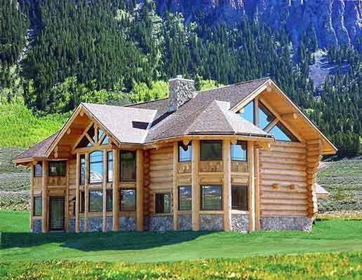 木质别墅木屋现场施工