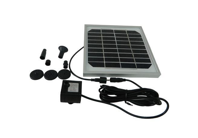 太阳能喷泉是利用太阳能驱动水泵抽水的景观性喷泉装置。本产品采用高效太阳能电池板以及新型无刷水泵,具有启动快、效率高、稳定性强的优点。此外,产品无需外接电源,不仅安装方便、操作简单,而且安全可靠、节能环保。产品广泛应用于水池喷泉、假山喷泉、鱼缸水循环等场所。         产品规格   太阳能板:9V 3W   水泵输入电压:DC 4.
