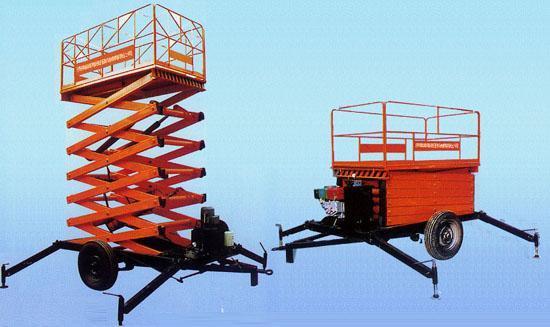 二轮牵引式液压升降机图片