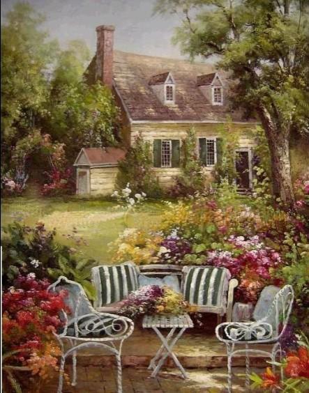 美国乡村油画壁纸