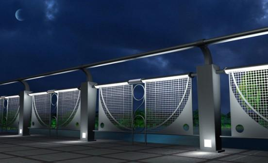 立柱和横梁上设计的灯光
