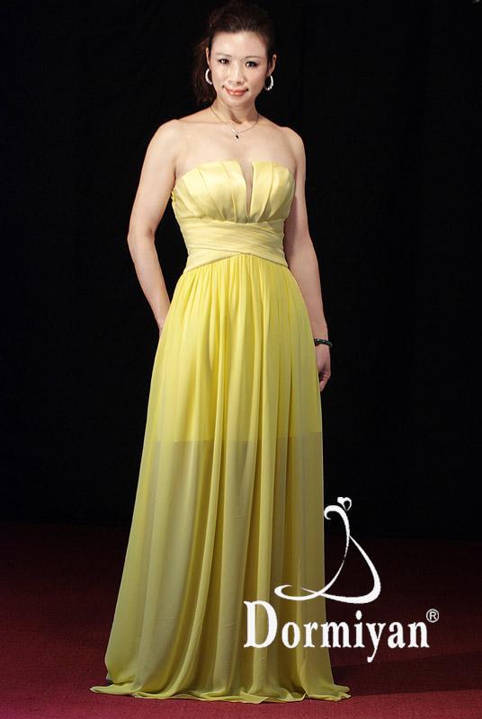 服装公�9���f:#���_产品目录 服装饰件 婚纱和礼服 礼服 03 抹胸抓褶大a形裙高雅主持人