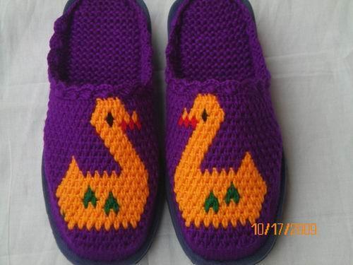 钩织拖鞋图案图解