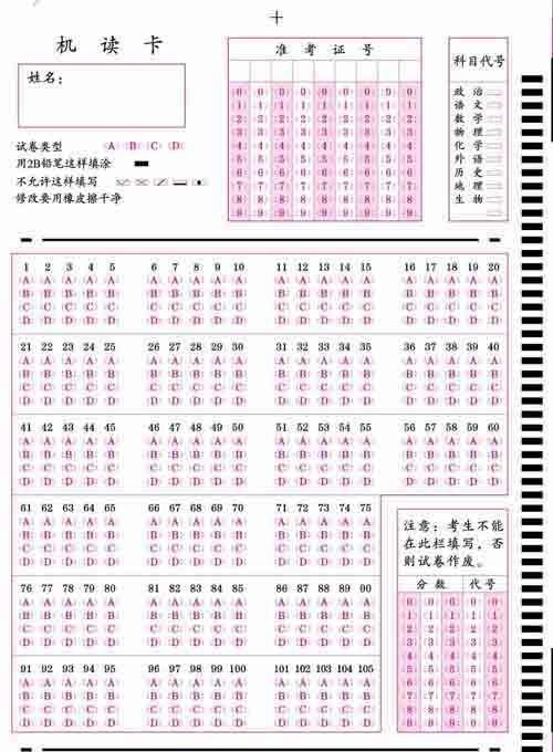 初高中标准化考试专用答题卡