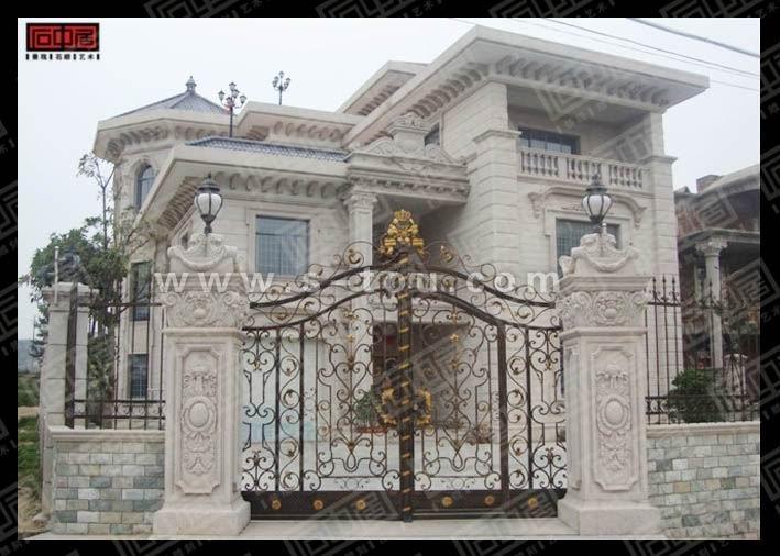 欧式别墅外墙装饰石材干挂制作图片