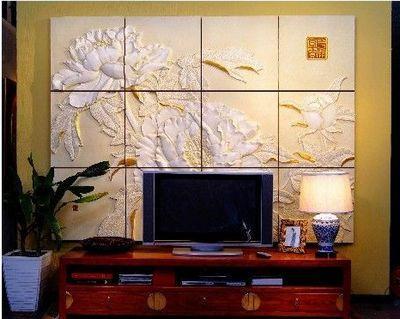 富贵花开 彩雕背景墙