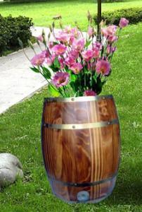 酒桶木花盆图片,酒桶木花盆高清图片 灵寿县五富登岳木制容器加工