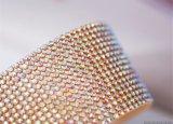 供应水晶玻璃ab彩金色铝网钻 服装水钻diy配件手缝钻烫钻排钻条钻