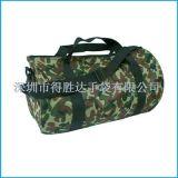 深圳观澜手袋厂车缝加工迷彩牛津布圆筒型旅行背袋