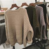 秋冬季韩版拼色毛衣女装套头长袖宽松显瘦百搭针织衫