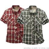 夏季男士新款短袖 格子纯棉短袖T恤男装 石狮服装批发