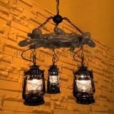 供应玛斯欧美式乡村复古三树环树脂材质煤油马灯灯头可调节高度餐厅吊灯MS-P9003