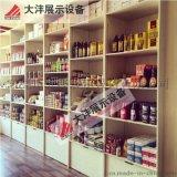 大沣DF-020精品超市货架展柜进口食品进口商品铁木结合货架尺寸层高可定制