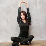 秋冬迷彩运动长袖T恤瑜伽服女士跳操跑步服上衣速干修身排汗健身