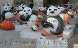 熊猫雕塑 户外功夫熊猫雕塑摆件 玻璃钢熊猫雕塑 大型熊雕塑订做 卡通熊猫雕塑 城市公园广场门口摆件 仿真熊猫制作