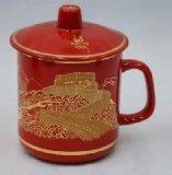 中國紅龍紋茶杯