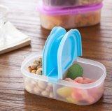 居家 双格翻盖保鲜盒 食品密封盒 冰箱冷藏分类盒 透明食品级