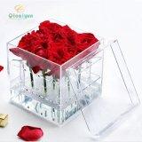 亚克力玫瑰花盒 有机玻璃花盒定制 透明花盒 亚克力玫瑰花收纳盒