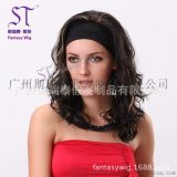 广州半头套假发批发 欧美女士中长款半头套假发 棕色挑染时尚