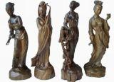 檀木雕刻《四大美女雕塑》