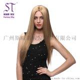 广州斯瑞泰欧美假发厂家直销 女士中分长直发假发 浅棕色长刘海知性魅力
