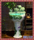 中式陶瓷立柱喷泉流水摆件客厅家居桌面金鱼养鱼缸景观加湿器