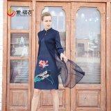 爱褶衣新款女装 三宅世家褶皱中式旗袍网纱拼接印花连衣裙