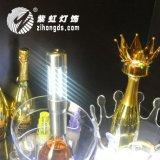 新款香槟烟花皇冠帽LED充电闪光冷烟花红酒装饰帽子