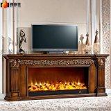 如意佳2.0米欧式壁炉R888立体雕花环保油漆实木电壁炉
