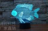 外貿新款創意LED剪紙魚七彩亞克力小夜燈節能3D立體視覺小夜燈
