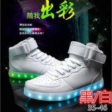外贸爆款发光鞋led高帮板鞋夜光灯鞋USB充电童鞋厂家批发