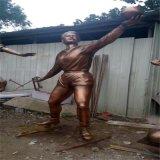 玻璃钢仿古铜打排球女性运动锻炼人物雕塑定制
