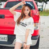 日韩新款 简约字母印花 休闲运动套装蝙蝠袖t恤+短裤